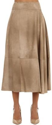 Bottega Veneta Flared Suede Midi Skirt
