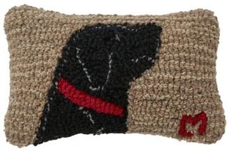 L.L. Bean Wool Hooked Throw Pillow, Begging Black Lab