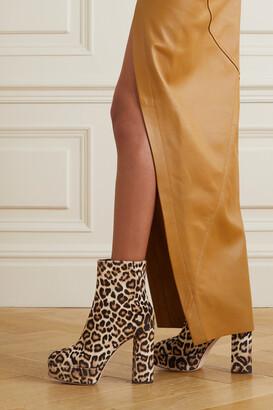 Giuseppe Zanotti Leopard-print Velvet Platform Ankle Boots
