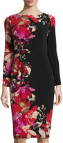 Maggy London Floral-Print Long-Sleeve Midi Dress