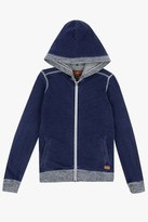 7 For All Mankind Boys S-Xl Knit Denim-Look French Terry With Marled Rib Knit Full-Zip Hoodie In Indigo