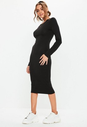 Missguided Petite Black Bodycon Long Sleeve Midi Dress