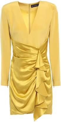 HANEY Pleated Silk-satin Mini Dress