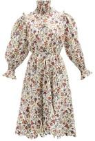 Horror Vacui Collia Love Letters-print Cotton-poplin Dress - Womens - White Multi