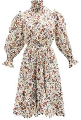 Horror Vacui Collia Love Letters-print Cotton-poplin Dress - White Multi