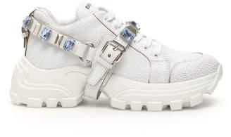 Miu Miu Crackled Combat Sneakers