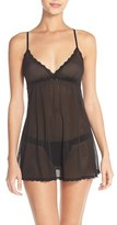 Hanky Panky Women's Lace Trim Mesh Babydoll With G-String