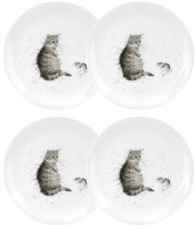 """Royal Worcester Wrendale 8"""" Cat Plate """"Cat and Mouse"""" - Set of 4"""