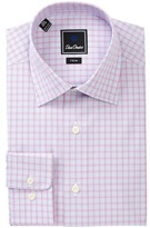 David Donahue Patterned Trim Fit Dress Shirt
