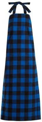 Vetements Checked Flannel Apron Dress - Black Blue