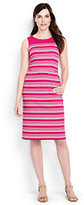 Lands' End Women's Petite Sleeveless Ponte Sheath Dress-Hot Pink Variegated Stripe