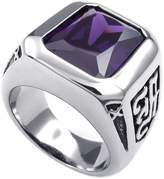 Konov Jewelry Mens Crystal Stainless Steel Ring, Classic Gothic