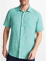 John Lewis Linen Micro Check Short Sleeve Shirt