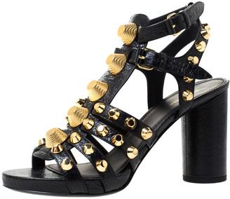 Balenciaga Black Leather Chunky-Heel Studded Gladiator Sandals Size 37