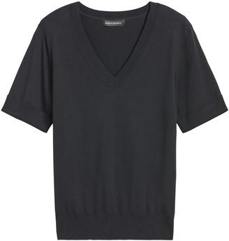 Banana Republic Petite Stretch-Cotton Short-Sleeve Sweater