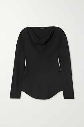 Theory Draped Silk-crepe Top - Black