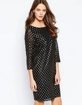 Ichi Brook Metallic Spot Dress with High Neck