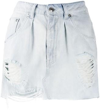 IRO Denim Distressed Mini Skirt