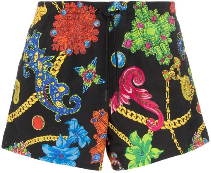 Versace jewel print drawstring swim shorts