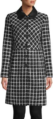 Karl Lagerfeld Paris Peterpan Collar Tweed Topper Jacket
