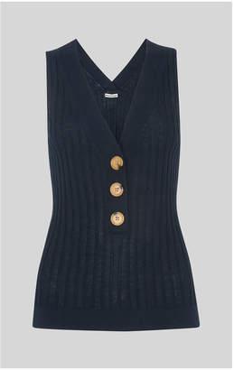 Whistles Button Detail Vest Knit