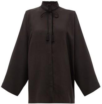 Etro Girasole Tasselled-tie Silk Blouse - Black