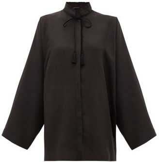 Etro Girasole Tasselled-tie Silk Blouse - Womens - Black