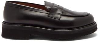 Grenson Peter Platform-sole Leather Penny Loafers - Black