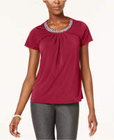 NY Collection Petite Embellished-Neck Top
