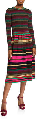 Trina Turk Ikagai Multi Stripe Long-Sleeve Midi Sweater Dress
