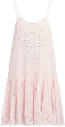 Juliet Dunn Floral Broderie-anglaise Cotton Mini Dress - Womens - Pink