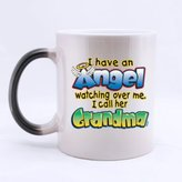 Fancy Design For Grandma I have an Angel watching over me!I call her Grandma! Heat Sensitive Color Changing Mug Custom Ceramic Morphing Coffee/Tea Cup Mug