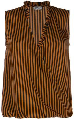 Liu Jo striped wrap-front vest