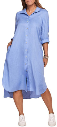 Blue Illusion French Linen Shirt Dress