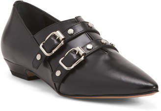 Made In Italy Double Buckle Leather Flats