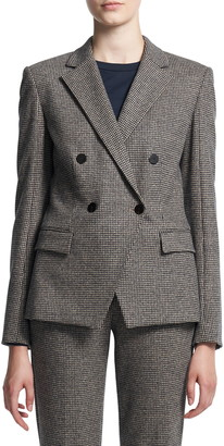 Theory Abbot Puppytooth Check Cashmere Double Breasted Jacket
