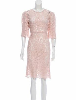 Dolce & Gabbana Lace Semi-Sheer Dress Pink