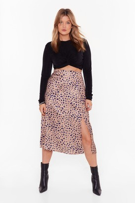 Nasty Gal Womens Plus Leopard Print Skirt with Slit - Gold