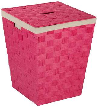 Honey-Can-Do Pink Woven Hamper with Liner