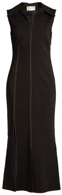 Christopher Kane Point Collar Contrast Stitch Cady Dress - Womens - Black