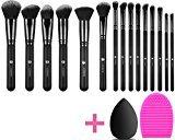 L COSMETIC(TM) Makeup Brushes Set Professional 15 Pcs Natural Hair Synthetic Cosmetic Brushes Eyeshadow Concealer Powder Brushes Kit and Brush Egg (15+2pcs,Black)