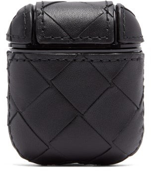 Bottega Veneta Intrecciato Leather Airpods Case - Black