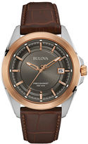 Bulova UHF Precisionist Mens Brown Leather Strap Watch 98B267