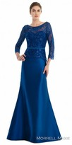 Morrell Maxie Lace Three-Quarter Sleeve Rhinestone Evening Dress