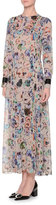 Giorgio Armani Long-Sleeve Pleated-Front Floral-Print Gown, Fantasia/Multi