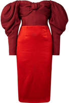 Hellessy Thelma Off-the-shoulder Silk-satin And Linen And Silk-blend Dress - Claret