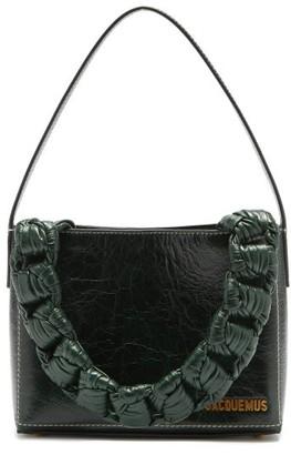 Jacquemus Noeud Chain-handle Craquelure-leather Bag - Dark Green