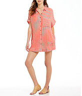Free People Little Sway Button Down Collar Dolman Sleeve Mini Dress
