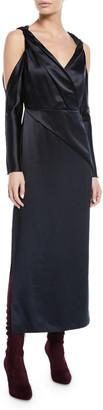 Dion Lee V-Neck Twist-Front Cold-Shoulder Mulberry Silk A-Line Dress