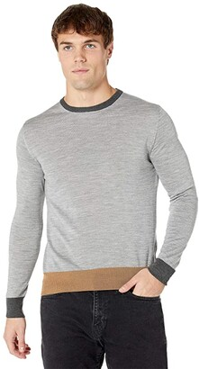 Eleventy Fine Gauge Color-Block Crew Neck Sweater (Light Grey) Men's Clothing
